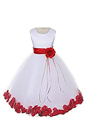 Satin Bodice Communion Flower Girl Pageant Petal Dress: White/Red - Infant XL