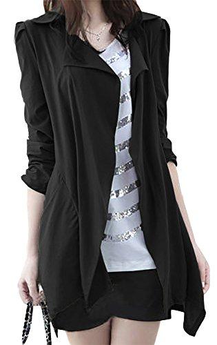 モカベリー (MocaBelly) 薄手 スプリング トレンチ コート デザイン ロール アップ 羽織 大きい サイズ レディース (4、ブラックXXL)