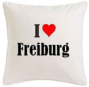 """Kissenbezug """"I Love Freiburg"""" 40cmx40cm aus Mikrofaser in Weiß mit Reißverschluss"""
