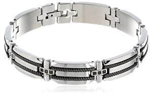 Men's Stainless Steel Bracelet with Black Diamond-Accent and Black Plating