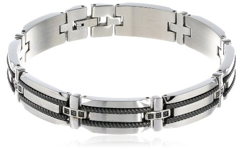 Men's Stainless Steel Bracelet  Black Diamond-Accent