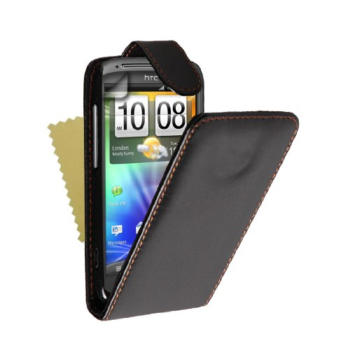 Brand New Black Leather Flip Case Cover Magnetic Close For The Htc Sensation And With Free Screen Protector Film + Free Delivery Uk