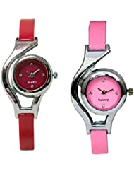 Bollywood Designer Stylish Free Diamond Dial Fancy Leather Watch For Girls And Women Pack Of 4 (White-Black-Pink-Red...