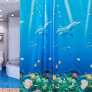 71 Inch Ocean Theme Dolphin Tropical Fish Coral Bath Perfect Shower Curtain With 12