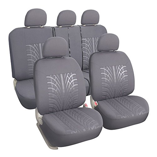 Leader Accessories Auto Cloth Universal Fit Car Seat Covers Full Set Grey Machine Washable (Bench Seat Covers For Girls compare prices)