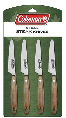 Coleman C04K219 4-Piece Steak Knives Set With Natural Color Pakkawood Handles
