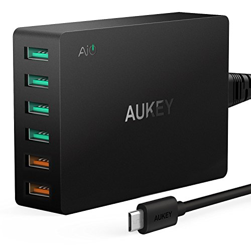 AUKEY-Quick-Charge-30-Cargador-USB-60W-2-Puertos-con-Tecnologa-Quick-charge-30-4-Puertos-con-AiPower-para-iPhone-Nexus-LG-y-ms-Incluido-un-Cable-Micro-USB-Negro