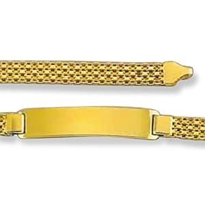 LIOR - Bracelet d'identification Homme - Gourmette Très Grosse - Or jaune 750/1000 - 21cm