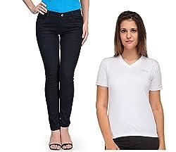 Oleva Women Combo Set of 2 (Denim Black Jeans and White T-Shirt ) ONC-05_30