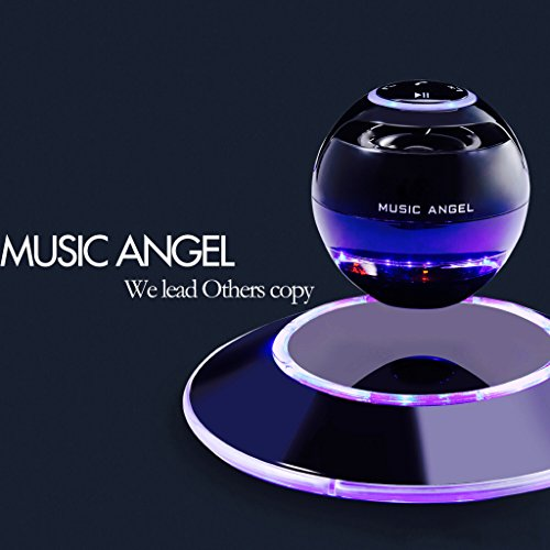 Music Angel JH-FD19 Levitating Portable Wireless Bluetooth Speakers with Microphone for iphone and ipad (Black)