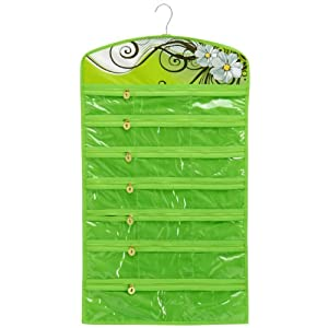 Green Floral Garden 40 Zipper Pockets Dual Sides Space-saving Hanging Earrings Necklace Bracelet Closet Jewelry Organizer Household Accessory Holder Storage Bag