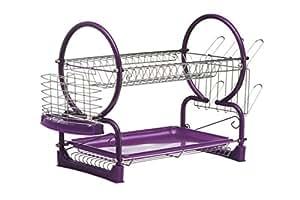 Premier Housewares 2-Tier Dish Drainer, Purple/ Chrome