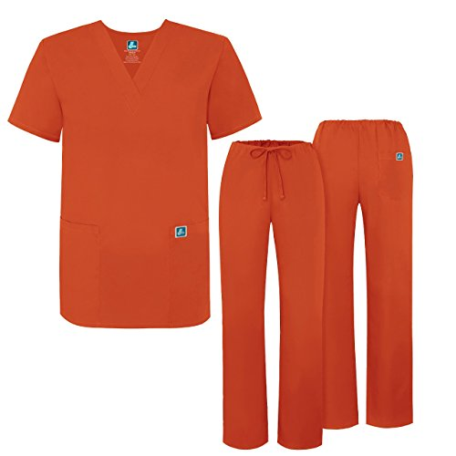 adar-universal-unisex-drawstring-scrub-set-available-in-39-colors-roomy-fit-701-mandarin-orange-m