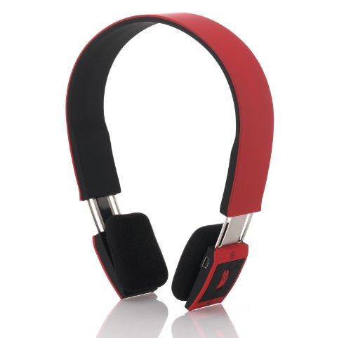 deleyCON Bluetooth Headset Kopfhörer Ohrhörer Sport –  Rot  – Stereo –  verstellbare Größe – für Handy 45519b45eb0f4