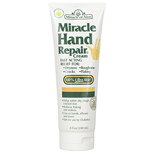 Miracle of Aloe Miracle Hand Repair Cream 8 Oz Relieve Dry, Cracked, Flaking Hands Immediately! Therapeutic Formula Contains 60% Ultra Aloe - The Purest Most Potent Form of Whole Leaf Aloe Vera Gel. Fast Acting Relief, Say Good Bye to Dry, Cracked Hands Now! Reduces Flaking and Redness, Use on Hands, Elbows and Knees, Exclusive Fast Acting Formula Penetrates Deep Into Damaged Skin Layers to Moisturize Where It's Needed Most. Leaves Hands Feeling Silky Smooth and Comfortable. (Miracle Hand Cream compare prices)