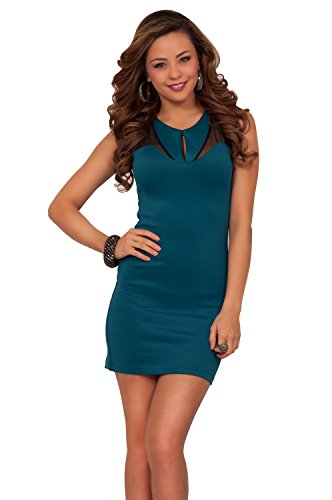 Womens Bodycon Cocktail Knit Mesh Cut Out Jewel Neck Sleeveless Party Mini Dress