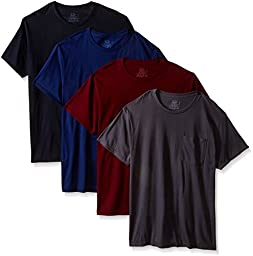 Fruit of the Loom Mens 4Pack Assorted Pocket Crewneck T-Shirts Undershirts M