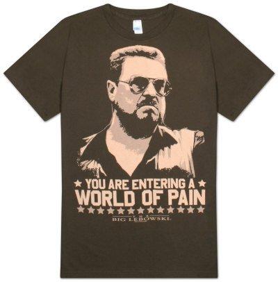 The Big Lebowski - World of Pain T-Shirt, L - Chocolate