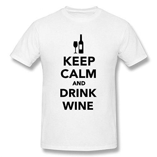 Pthf Men'S Keep Calm Drink Wine Cotton T Shirt Xs White