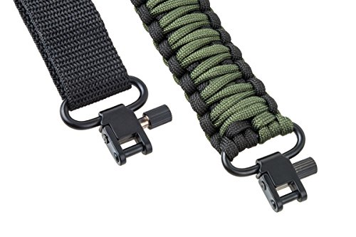 rifle-sling-550-paracord-2-point-survival-hunting-shooting-extra-strong-multi-use-black-army-green