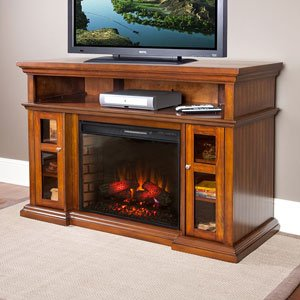 Pasadena 60-inch Electric Fireplace Media Console - Walnut - 28mm468 photo B005T09HU0.jpg
