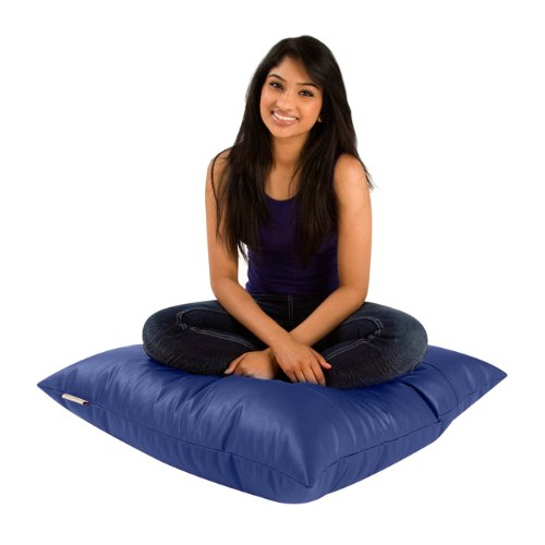 Square Floor Cushion - Modern Living Accessory - BLUE Faux Leather