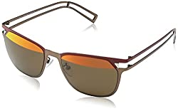 Police Mirrored Square Men's Sunglasses (S8965M54SN8HSG 54 Brown with Red Mirror on Top lens)