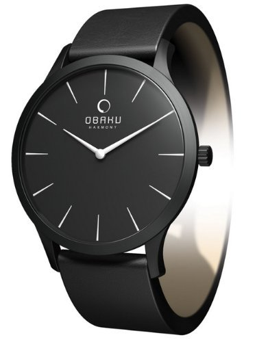 Obaku By Ingersoll Ladies Black Dial Black Leather Strap Watch