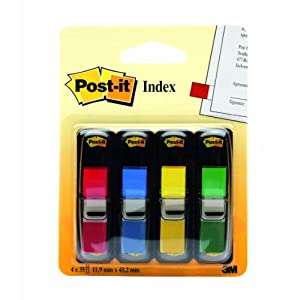 Post-it Flags, Assorted Primary Colors, 1/2-Inch Wide, 35/Dispenser, 4-Dispensers/Pack