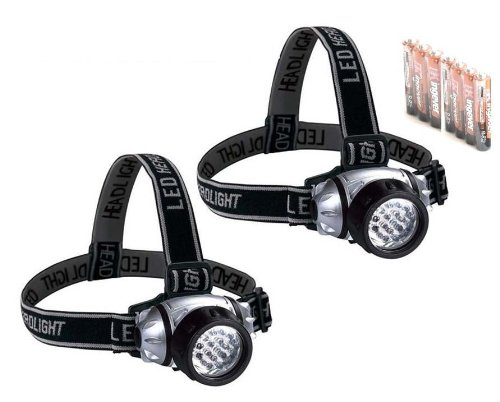 2 Pack 14 Led Headlight Headlamp Flashlight Torch Light + Free Aaa Batteries