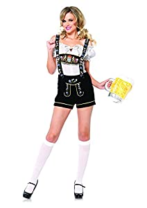 Leg Avenue Women's 2 Piece Edelweiss Lederhosen Costume, White/Black, Medium