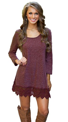 MiYang-Womens-Purple-Long-Sleeve-A-line-Lace-Stitching-Trim-Casual-Dress