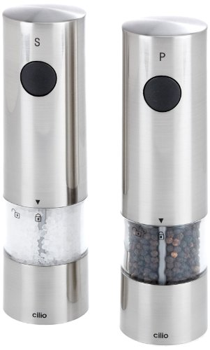 TopGourmet Cilio Monza Electric Salt and Pepper Mill Set Stainless Steel Acrylic Brushed Metal Finish 20 cm
