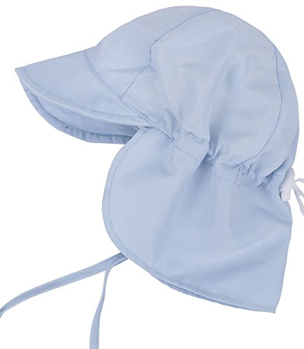 SimpliKids UPF 50+ UV Ray Sun Protection Baby Hat w/ Neck Flap & Drawstring,Light Blue,0-12 Months