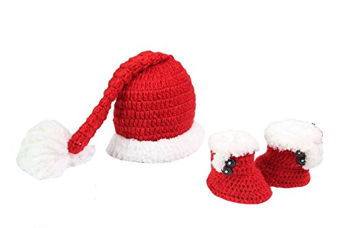 MSP Handmade Newborn Baby Photo Photography Props Crochet Crochet Knitted Prop Girl Boy Shoes Red-and-white Santa Claus Caps Hat Christmas Cap Set Clothes Outfits 0-12 Months