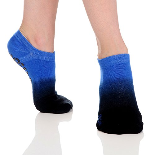 Great Soles Women's Ombre Dyed Grip Socks for Pilates, Yoga, and Barre (One Size – comfortably fits women shoe sizes 6-10., Marine)