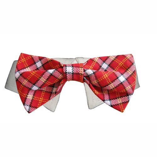 Dog Bow Tie Wedding Collar- Red Plaid, XXL (Neck 15-18