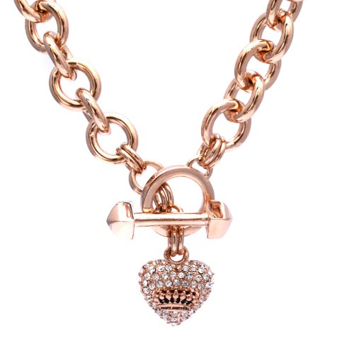 Juicy Couture Juicy Couture Iconic Pave Heart & Toggle Luxe Necklace, Rose Gold