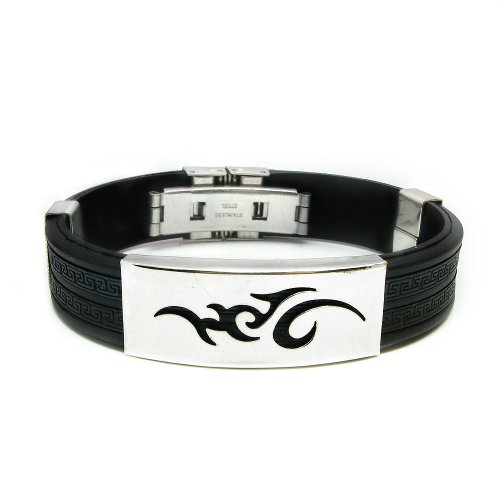 Tungsten Love 316L Stainless Steel & Rubber Mens Bracelet Multi Colors Selectable (Black)