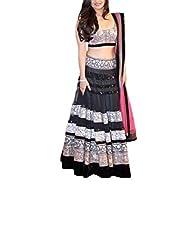 CrazeVilla women Black color net party wear lehenga choli.