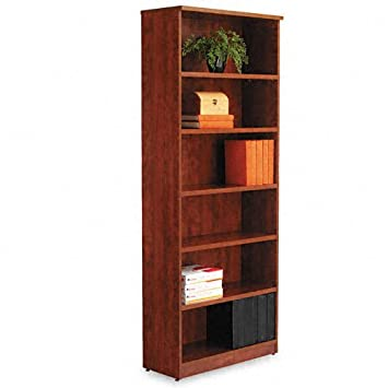 Alera Valencia Series Bookcase/Storage Cabinet, 6 Shelves, 32 W by 14 1/2 D by 82 H, Medium Cherry
