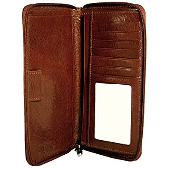 Jack Georges Sienna Zippered Leather Checkbook/Travel Wallet - Cherry