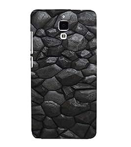 PrintVisa Charcoal Stone Pattern 3D Hard Polycarbonate Designer Back Case Cover for Xiaomi Redmi Mi4