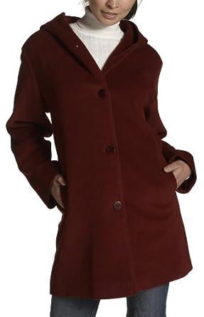Jones New York Women's Angora Blend Pick Stitch Single Breasted Hooded Coat, Red, 4