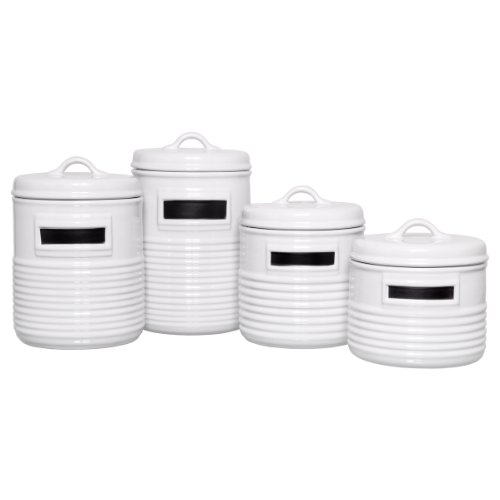 4 Piece Can Shaped Canister Set (Set Of 4) Color: White
