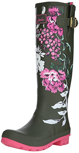 Joules Women's Wellyprint Rain Boot, Grape Leaf Floral, 8 M US