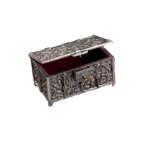 Medieval statue Jewelry treasure lock Box Sculpture New