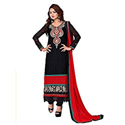 M Fab Embroidered Black Georgette Un Stitched Dress Material