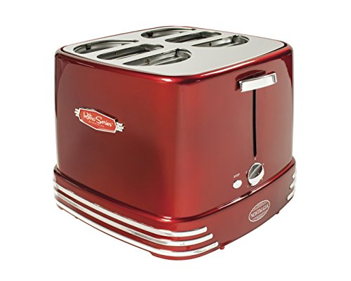 Nostalgia RHDT800RETRORED Retro Series 4-Slot Pop-Up Hot Dog Toaster (Bun Warmer Hot Dog compare prices)