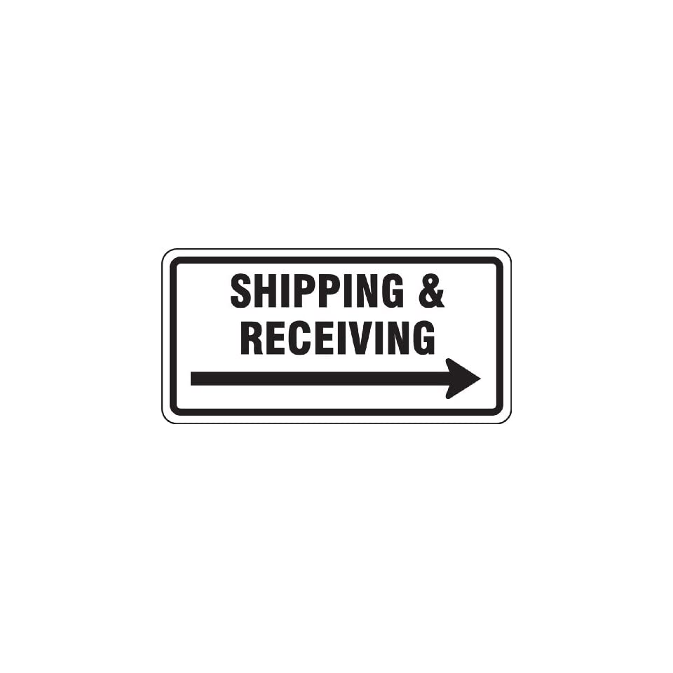 Accuform Signs FRR267RA Engineer Grade Reflective Aluminum Facility Traffic Sign, Legend SHIPPING & RECEIVING (ARROW RIGHT), 12 Length x 24 Width x 0.080 Thickness, Black on White